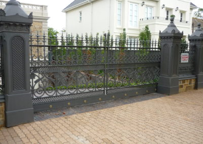 Automated opening driveway gates, highly decorative Victorian designed gates, fence panels and pillars