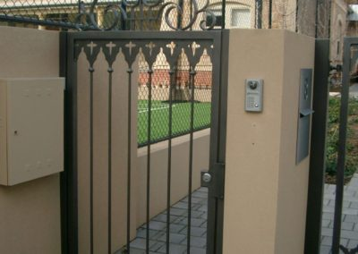 contemporary-design-single-entrance-steel-gate-lockable-with-intercom-system-built-into-a-masonry-wall-including-self-opening-driveway-gate